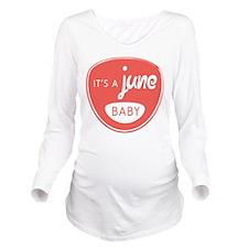 Salmon June Long Sleeve Maternity T-Shirt