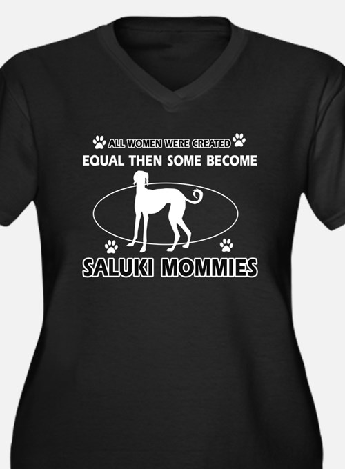 Become saluki mommy Women's Plus Size V-Neck Dark