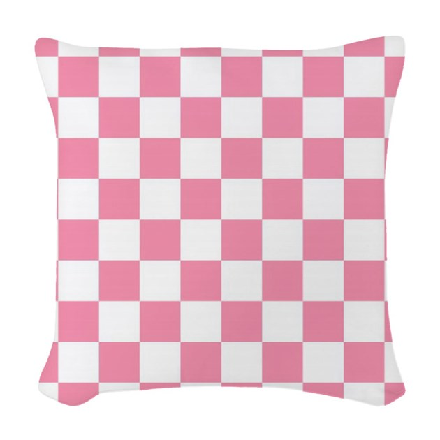 Pink And White Squares Woven Throw Pillow by Allcolor