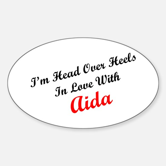 In Love with Aida Oval Decal