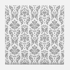 Gray White Vintage Damask DESIGN Tile Coaster
