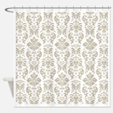 Taupe White Damask DESIGN Shower Curtain