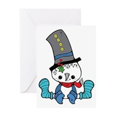 cute silly sitting snowman cartoon Greeting Card