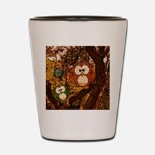 drawn owl forest Shot Glass