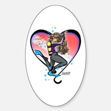 Scuba Girl Oval Decal
