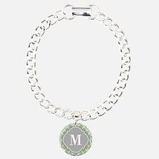 Monogrammed Sage Green Moroccan Trellis Bracelet
