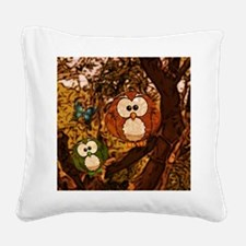 drawn owl forest Square Canvas Pillow