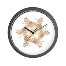 Pastel Peach Floral Dreams Kaleidoscope Wall Clock
