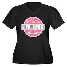 Banker Pink Vintage Women's Plus Size V-Neck Dark