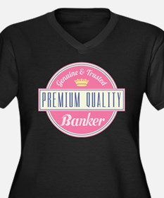 Banker Pink Vintage Women's Plus Size V-Neck Dark