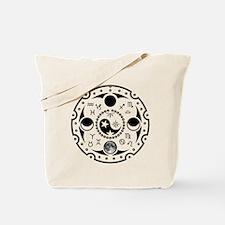 Lunation Moon Dial b/w Tote Bag
