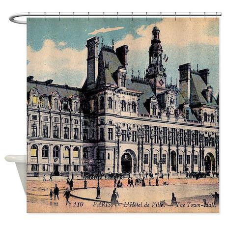 vintage paris hotel shower curtain by pinkinkart2