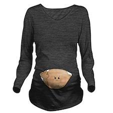 baby peeking AA Long Sleeve Maternity T-Shirt