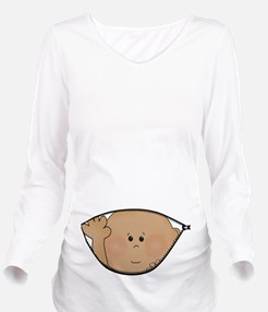 baby peeking AA Long Sleeve Maternity T-Shirt