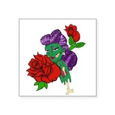 "Zombie Pinup Square Sticker 3"" x 3"""