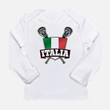 Italia Italy Lacrosse Logo Long Sleeve T-Shirt