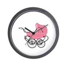 Vintage Pink Baby Girl Stroller Wall Clock