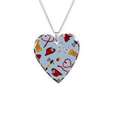 Cute Firefighter Love Print - Blue Necklace