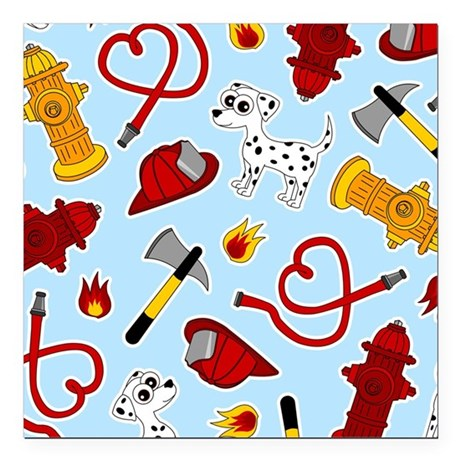 Cute Firefighter Love Print - Blue Square Car Magn