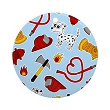 Cute Firefighter Love Print - Blue Ornament (Round