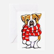 Bulldog Scarf Greeting Cards (Pk of 20)