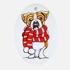 Bulldog Scarf Ornament (Oval)