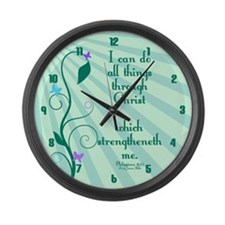 Philippians 4:13 Starburst Large Wall Clock