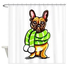 Frenchie Scarf Shower Curtain