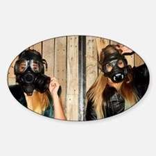 Women with gasmasks Sticker (Oval)