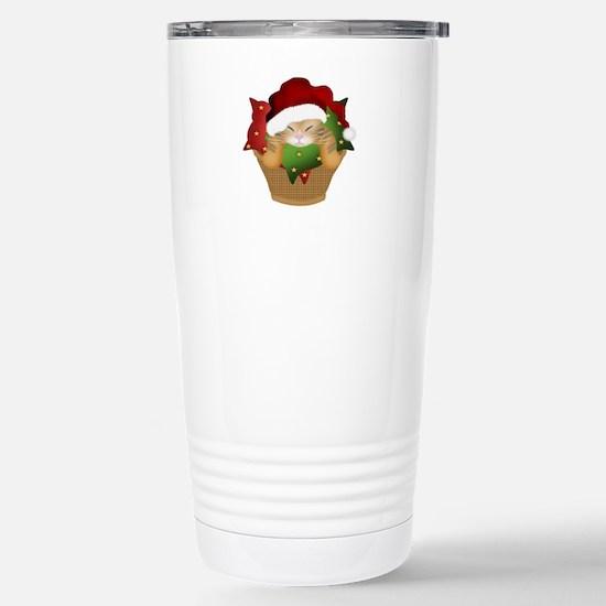 Christmas Kitty Stainless Steel Travel Mug