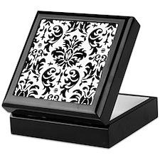 Black and White Modern Damask DESIGN Keepsake Box
