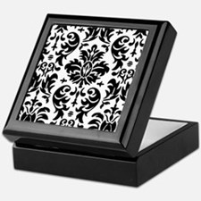 Black and White Modern Damask DESIGN Keepsake Box