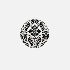 Black and White Modern Damask DESIGN Mini Button