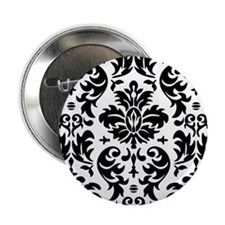 "Black and White Modern Damask DESIGN 2.25"" Button"
