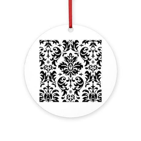 Black and White Modern Damask DESIG Round Ornament