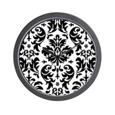 Black and White Modern Damask DESIGN Wall Clock