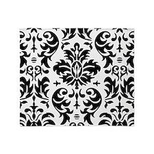 Black and White Modern Damask DESIGN Throw Blanket
