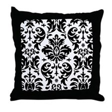 Black and White Modern Damask DESIGN Throw Pillow