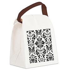 Black and White Modern Damask DES Canvas Lunch Bag