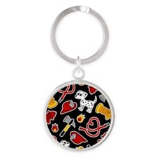Cute Firefighter Love Print - Black Keychains