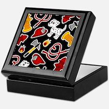 Cute Firefighter Love Print - Black Keepsake Box