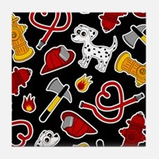 Cute Firefighter Love Print - Black Tile Coaster
