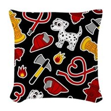 Cute Firefighter Love Print - Black Woven Throw Pi