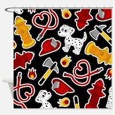 Cute Firefighter Love Print - Black Shower Curtain