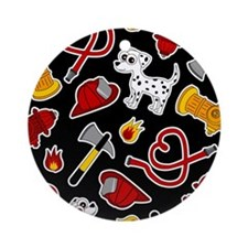Cute Firefighter Love Print - Black Ornament (Roun