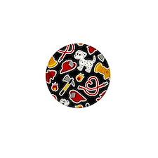 Cute Firefighter Love Print - Black Mini Button