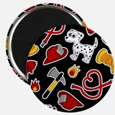 Cute Firefighter Love Print - Black Magnets