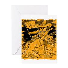 Antique Jose Posada Calavera Cowboy Print Greeting