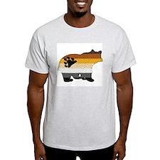 PRIDE BEAR W/MOSAIC STRIPES Ash Grey T-Shirt