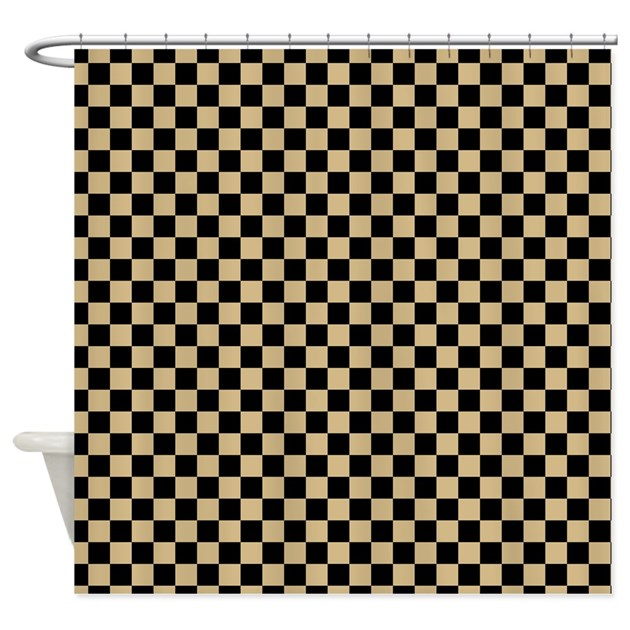 Black And Gold Checkered Shower Curtain By Zenchic